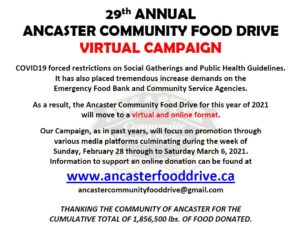 Ancaster Community Food Drive- virtual campaign 2021 @ virtual