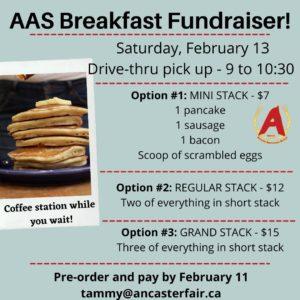 Pancake Breakfast Fundraiser @ Ancaster Fairgrounds